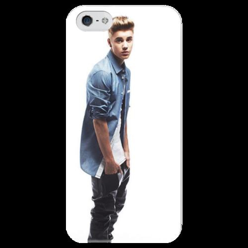 """Чехол для iPhone 5 глянцевый, с полной запечаткой """"красавчик"""" - music, justin bieber, hot, sexy, джастин бибер"""