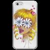 """Чехол для iPhone 5 глянцевый, с полной запечаткой """"Без ума от цветов"""" - любовь, девушка, цветы, сердца, блондинка"""
