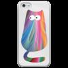 """Чехол для iPhone 5 глянцевый, с полной запечаткой """"Радужный кот"""" - кот, цветной"""