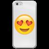 """Чехол для iPhone 5 глянцевый, с полной запечаткой """"Сма́йлик """" - сердце, любовь, love is, романтика, смайлик"""