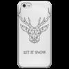 """Чехол для iPhone 5 глянцевый, с полной запечаткой """"Dear Deer"""" - рисунок, дизайн, олень, минимализм, рога"""