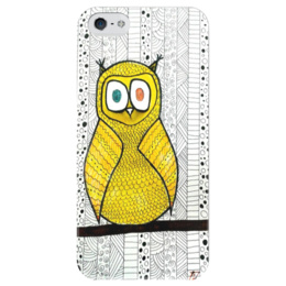 """Чехол для iPhone 5 глянцевый, с полной запечаткой """"СоваСоваСова"""" - print, yellow, owl"""