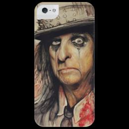 """Чехол для iPhone 5 глянцевый, с полной запечаткой """"Alice Cooper"""" - готика, арт, кровь, галстук, портрет, оригинально, акварель, змеи, сюрреализм, музыкант"""