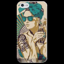 """Чехол для iPhone 5 глянцевый, с полной запечаткой """"Девушка с tatoo"""" - девушка, ретро, tattoo, очки, в подарок, татуировка, тату, pin up, poster, постер"""