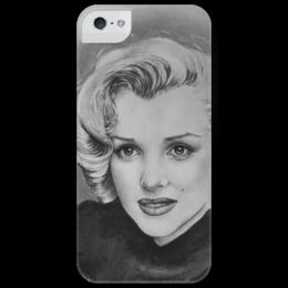 "Чехол для iPhone 5 глянцевый, с полной запечаткой ""Marilyn Monroe"" - мэрилин монро, black n white, секс-символ, киноактриса"