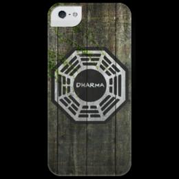 "Чехол для iPhone 5 глянцевый, с полной запечаткой ""Dharma, Wood "" - сериалы, lost, dharma, остаться в живых, wood, дарма"