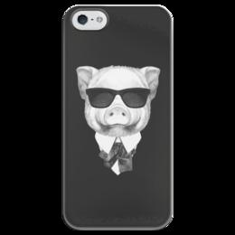 """Чехол для iPhone 5 глянцевый, с полной запечаткой """"Черно-белый Поросенок"""" - арт, стиль, рисунок, стильно, поросенок"""