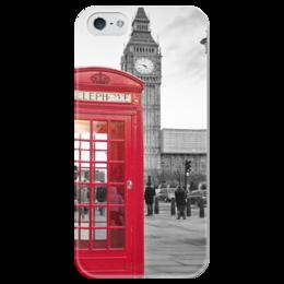 "Чехол для iPhone 5 глянцевый, с полной запечаткой ""London "" - red, london, лондон, uk, телефонная будка, telephone box"