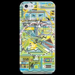 """Чехол для iPhone 5 глянцевый, с полной запечаткой """"Березка"""" - арт, узор, абстракция, фигуры, бирюзовый"""