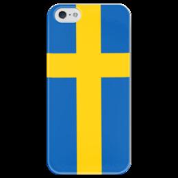 """Чехол для iPhone 5 глянцевый, с полной запечаткой """"Флаг Швеции"""" - страны, флаги, скандинавия, швеция, стокгольм"""