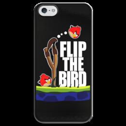 """Чехол для iPhone 5 глянцевый, с полной запечаткой """"Flip The Bird"""" - angry birds, flip the bird, злые псицы"""