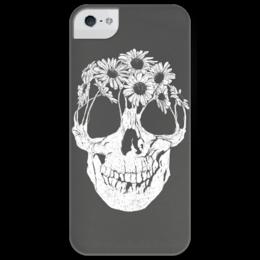 """Чехол для iPhone 5 глянцевый, с полной запечаткой """"Цветущий череп"""" - skull, череп, цветы, iphone5, редкие"""
