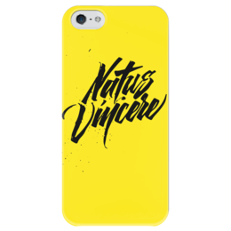"Чехол для iPhone 5 глянцевый, с полной запечаткой ""Natus Vincere (Na'Vi) – Calligraphy Yellow"" - игры, жёлтый, yellow, dota, dota 2, navi, natus vincere, дота, каллиграфия, edward"