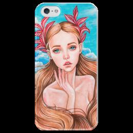 "Чехол для iPhone 5 глянцевый, с полной запечаткой ""Русалочка"" - арт, девушка, сказка, русалочка, модерн"