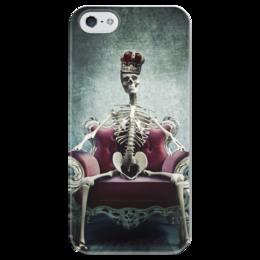 """Чехол для iPhone 5 глянцевый, с полной запечаткой """"Королева """" - скелет, королева, скилет, на троне"""