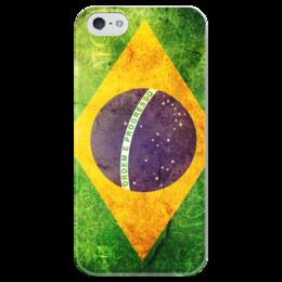 """Чехол для iPhone 5 глянцевый, с полной запечаткой """"Флаг Бразилии"""" - rio, brazil, флаг, бразилия, brasil"""