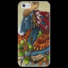 """Чехол для iPhone 5 глянцевый, с полной запечаткой """"Дух леса"""" - арт, horse, forest, spirit"""