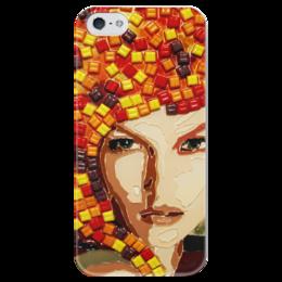 """Чехол для iPhone 5 глянцевый, с полной запечаткой """"Beauty"""" - арт, мозаика, mosaic"""