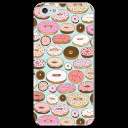 """Чехол для iPhone 5 глянцевый, с полной запечаткой """"Пончики"""" - еда, сладости, пончики, donuts, фон"""