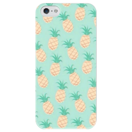 "Чехол для iPhone 5 глянцевый, с полной запечаткой ""анаНАСИК"" - лето, summer, green, print, yellow, ананас, pineapple"