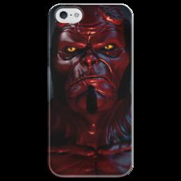 """Чехол для iPhone 5 глянцевый, с полной запечаткой """"Хеллбой"""" - хеллбой, демон, комиксы, hellboy, dark horse comics"""
