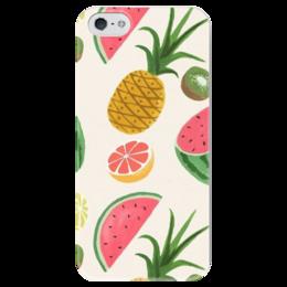 """Чехол для iPhone 5 глянцевый, с полной запечаткой """"анаНАСИК"""" - лето, фрукты, summer, fruits"""