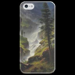 "Чехол для iPhone 5 глянцевый, с полной запечаткой ""Rocky Mountain Waterfall"" - картина, водопад, бирштадт"