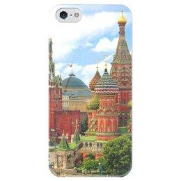 """Чехол для iPhone 5 глянцевый, с полной запечаткой """"I Love MOSCOW !"""" - москва, moscow, город, в подарок, россия, сувенир, city, столица, на память"""