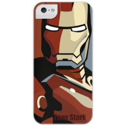 """Чехол для iPhone 5 глянцевый, с полной запечаткой """"Tony Stark"""" - comics, superhero, железный человек, iron man, тони старк, billionaire"""
