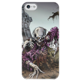 """Чехол для iPhone 5 глянцевый, с полной запечаткой """"Мертвец (зомби)"""" - хэллоуин, zombie, зомби, скелет, мертвец"""