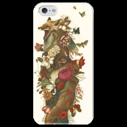 """Чехол для iPhone 5 глянцевый, с полной запечаткой """"Крученый лис"""" - животные, лис, iphone5, fox"""