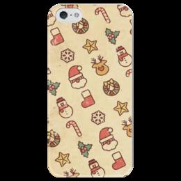 """Чехол для iPhone 5 глянцевый, с полной запечаткой """"Новый Год"""" - новый год, снег, снеговик"""