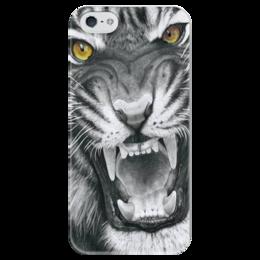 """Чехол для iPhone 5 глянцевый, с полной запечаткой """"Тигриный рык"""" - тигр, рык, артдизайн"""