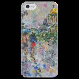 """Чехол для iPhone 5 глянцевый, с полной запечаткой """"Питер"""" - девушки, питер, подарок, дождик, под зотом"""
