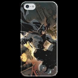 """Чехол для iPhone 5 глянцевый, с полной запечаткой """"Бэтмен"""" - комиксы, batman, бэтмен, dc, dc comics"""