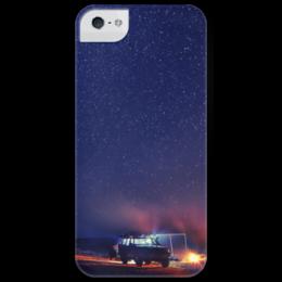 """Чехол для iPhone 5 глянцевый, с полной запечаткой """"Ночное небо"""" - ночь, небо, night, sky, stars, звезды"""