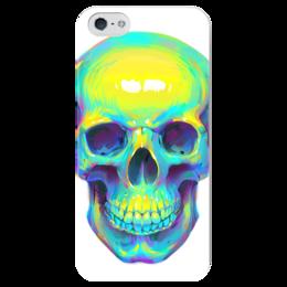 "Чехол для iPhone 5 глянцевый, с полной запечаткой ""Colorfull skull"" - skull, череп, арт, поп арт, pop art"