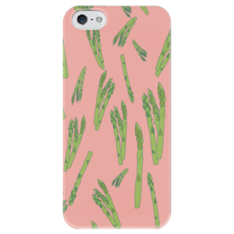 """Чехол для iPhone 5 глянцевый, с полной запечаткой """"Веган """" - для девушки, зимний, овощи, аспарагус, веганский"""
