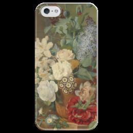 """Чехол для iPhone 5 глянцевый, с полной запечаткой """"Цветы в терракотовой вазе"""" - картина, бранд"""