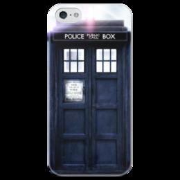"""Чехол для iPhone 5 глянцевый, с полной запечаткой """"Tardis"""" - doctor who, doctor, tardis, доктор кто, тардис"""