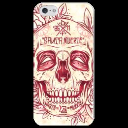 """Чехол для iPhone 5 глянцевый, с полной запечаткой """"Santa Muerte skull"""" - skull, череп, смерть, санта муерте"""