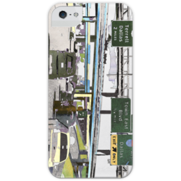 """Чехол для iPhone 5 глянцевый, с полной запечаткой """"Американский хайвей"""" - сша, путешествия, шоссе, дороги, хайвеи"""