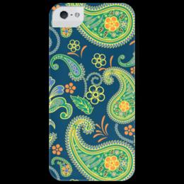 """Чехол для iPhone 5 глянцевый, с полной запечаткой """"Восточные узоры"""" - салатовый, оранжевый, узоры, ornament, зеленый, синий, восток, огурцы"""