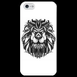 """Чехол для iPhone 5 глянцевый, с полной запечаткой """"Лев в чёрно-белом варианте"""" - лев, графика, чёрное и белое"""