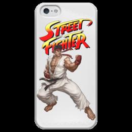 """Чехол для iPhone 5 глянцевый, с полной запечаткой """"  Street Fighter Ryu white"""" - компьютерные игры, файтинг, видеоигры, street fighter, стрит файтер"""