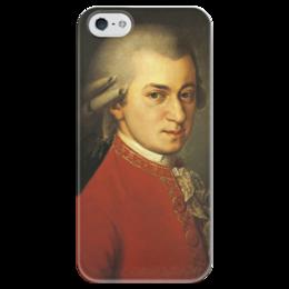 """Чехол для iPhone 5 глянцевый, с полной запечаткой """"Портрет Вольфганга Амадея Моцарта"""" - картина, крафт"""