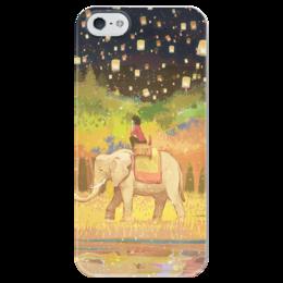 """Чехол для iPhone 5 глянцевый, с полной запечаткой """"Фонарики"""" - девушка, животные, night, рисунок, слон, ночь, аниме, природа, elephant, фонарики"""