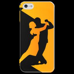"""Чехол для iPhone 5 глянцевый, с полной запечаткой """"Танго в ночи"""" - музыка, танец, ночь, танго"""