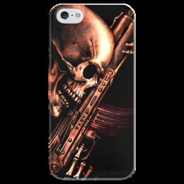 "Чехол для iPhone 5 глянцевый, с полной запечаткой ""ДО КОНЦА!!!"" - skull, череп, weapon, автомат, ак"