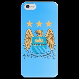 """Чехол для iPhone 5 глянцевый, с полной запечаткой """"Манчестер Сити"""" - манчестер сити, manchester city"""
